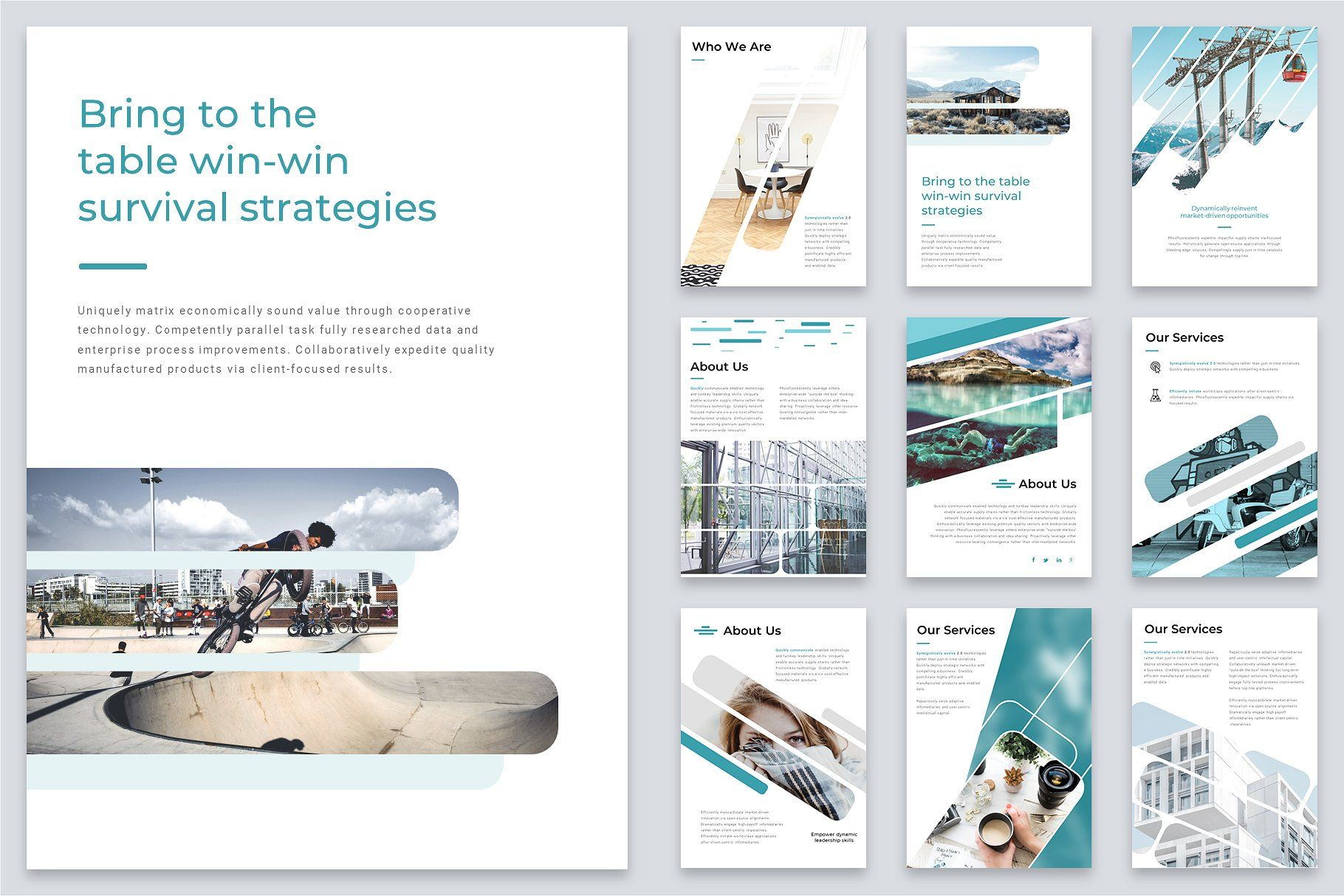 A4 Shift Modern Powerpoint Template With Images Powerpoint