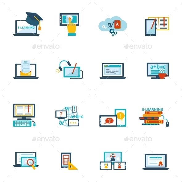 E Learning Icons Elearning Business Icons Vector Online Education