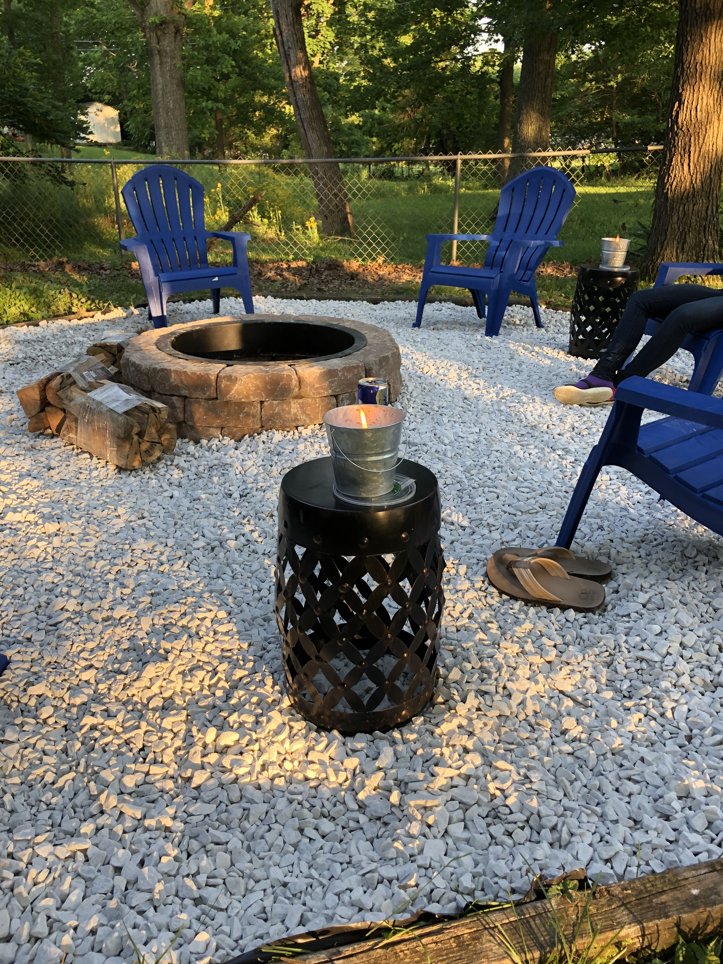 DIY fire pit All items purchased at Lowe's , Marble Rock
