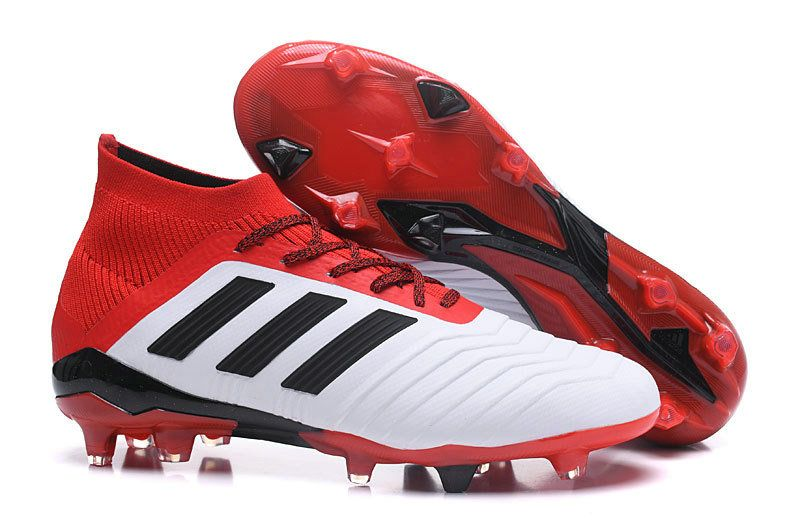 new concept ce695 3e70f Men Cheap Adidas Predator 18+ FG 2018 Word Cup Soccer Cleats White Solar  Red Black