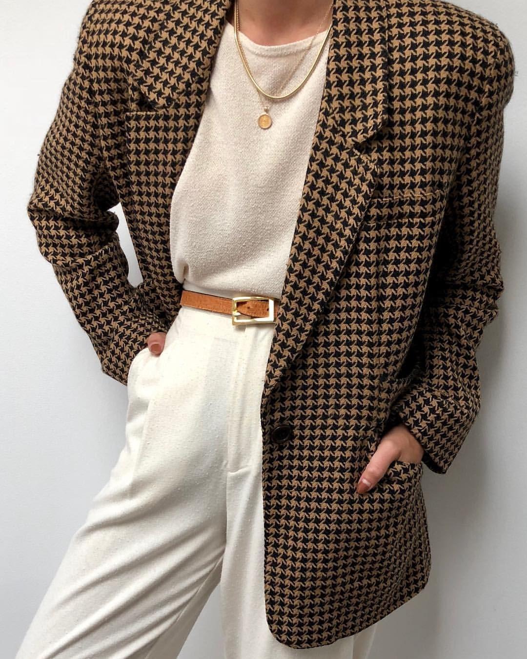 Fashion Fashion Outfits Fashion Ideas Checked Outfit Checked Blazer Checked Trousers Checked Coat Cream Vintage Blazer Fashion Fashion Inspo
