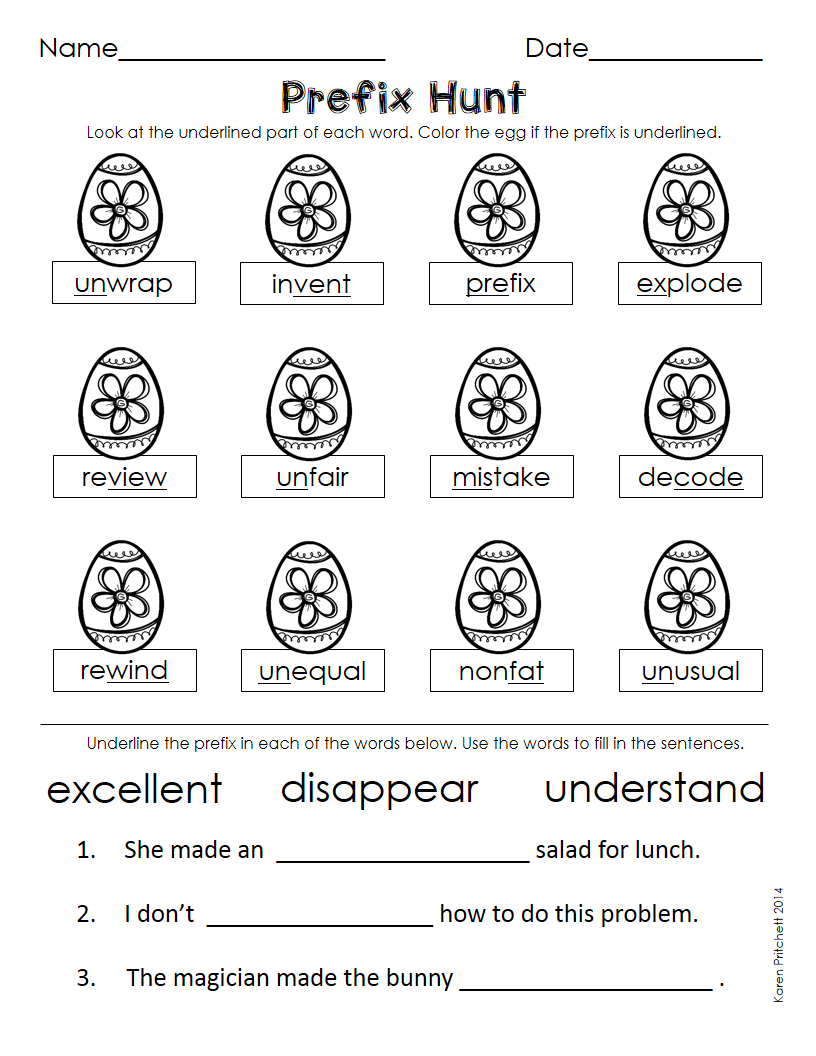 Workbooks suffixes and prefixes worksheets 4th grade : Easter / Spring morning work. A fun way to review: verb tense ...