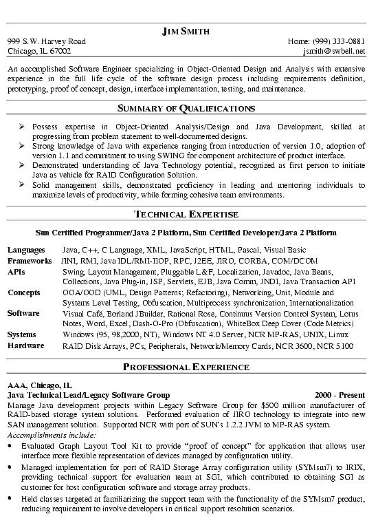 j2ee programmer resume sample resumes for java developer resume builder sample resumes sample java resume java