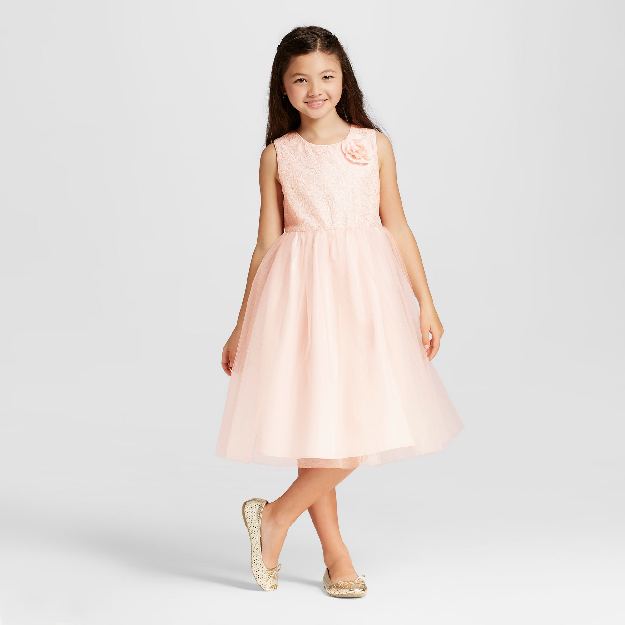 Girls Empire Dress With Flower Peach 12 Tevolio Pale Peach