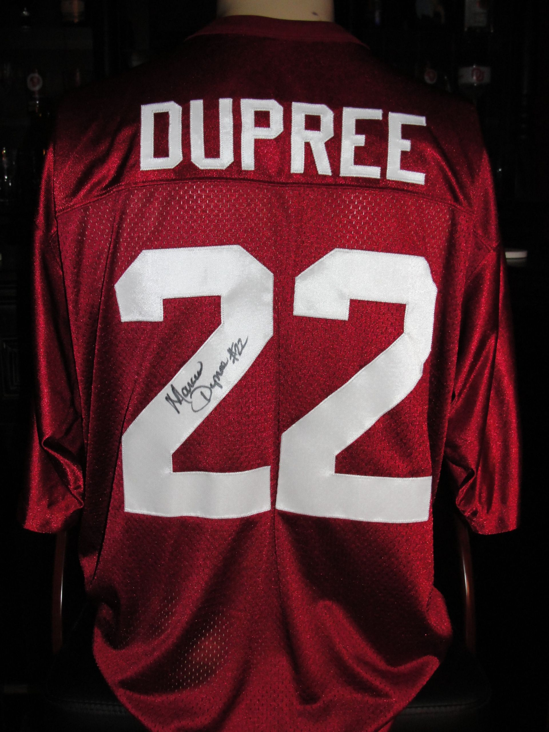 22 marcus dupree autographed jersey sewn s letters