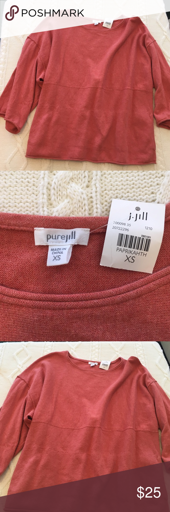 NWT J.jill Sweater NWT J.jill coral colored poncho sweater. 95% cotton and 5% cashmere. Absolutely beautiful! 💕 J. Jill Sweaters Shrugs & Ponchos