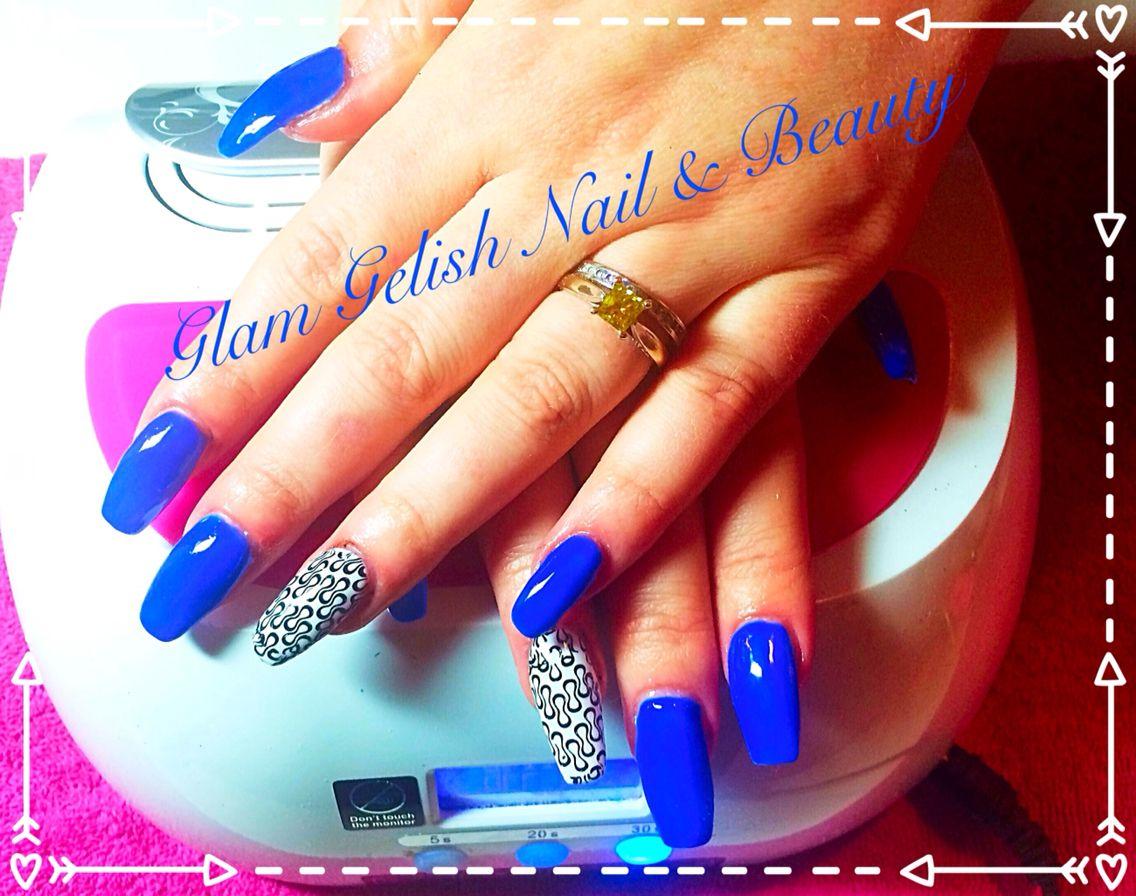 Pro Hesion Acrylic With Gelish Mali Bly Me Away And Nail Art Nail