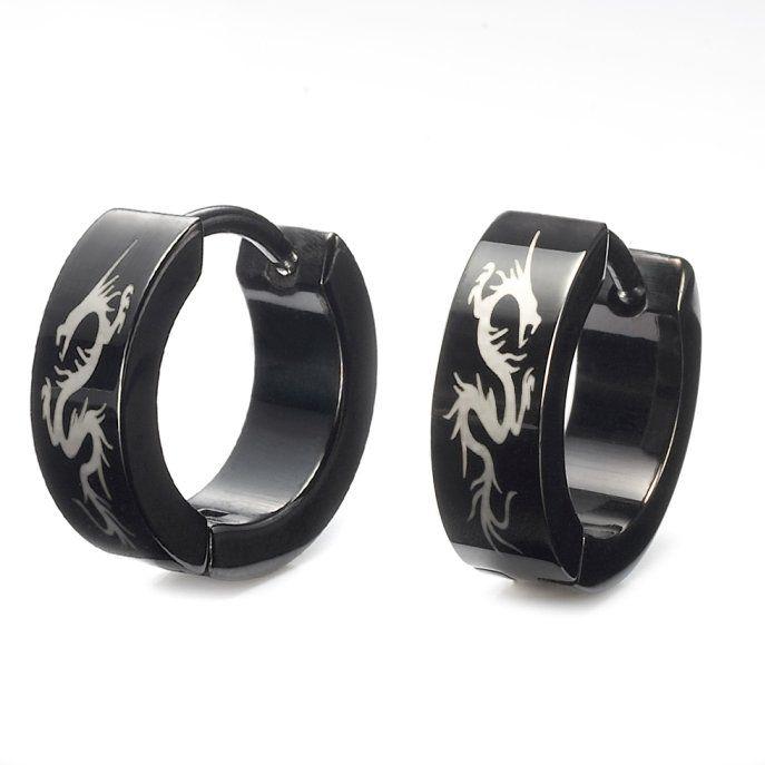 Stunning Mens Black Stainless Steel Dragon Hoop Earrings | RnBJewellery