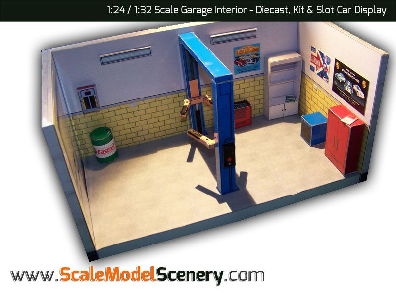 Download And Print Scale Model Scenery Plastic Model Kits Cars Garage Interior Diorama