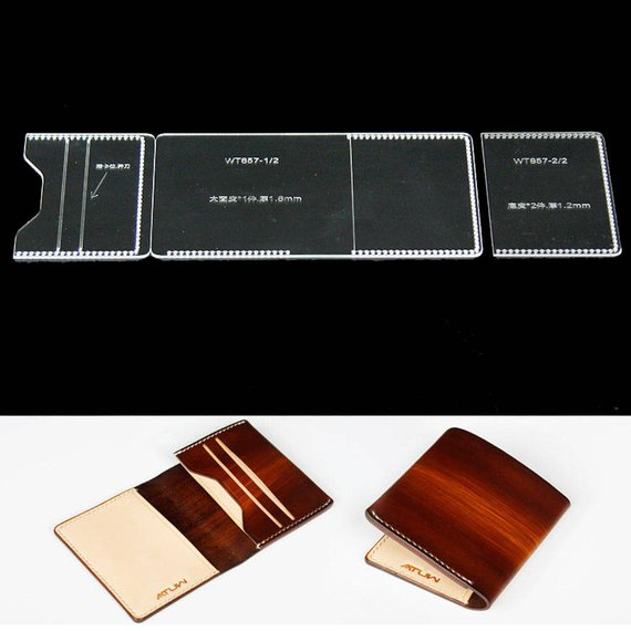 Acrylic Card Case Leather Template Diy Craft Model For Making Etsy How To Make Purses Leather Card Case Leather Craft Tools