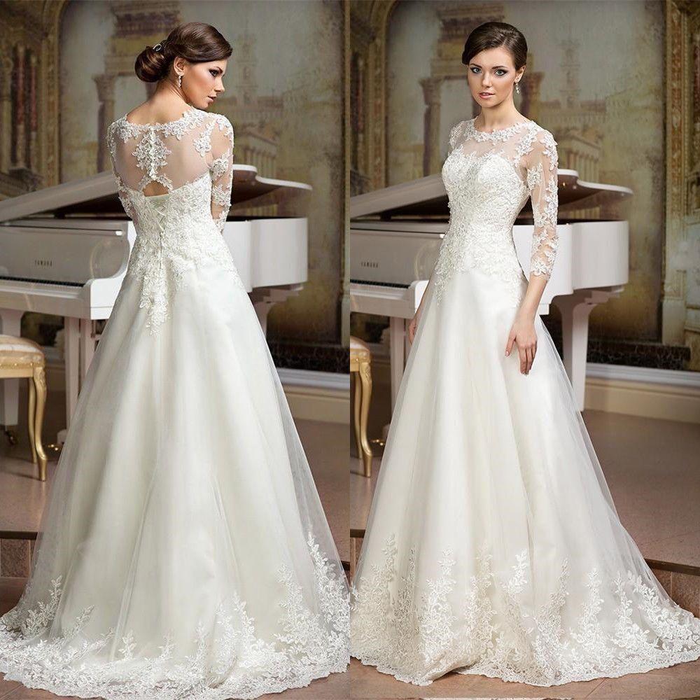 3 4 sleeve lace wedding dress   Sleeve Lace ALine Wedding Dress White Ivory Lace Bridal Gowns