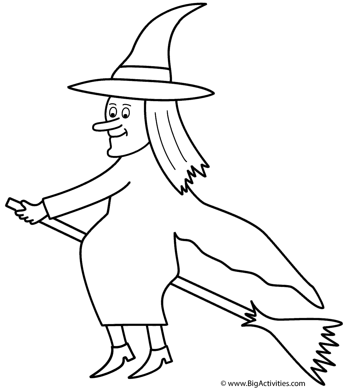 Witch on a broom coloring page great for room on the broom by