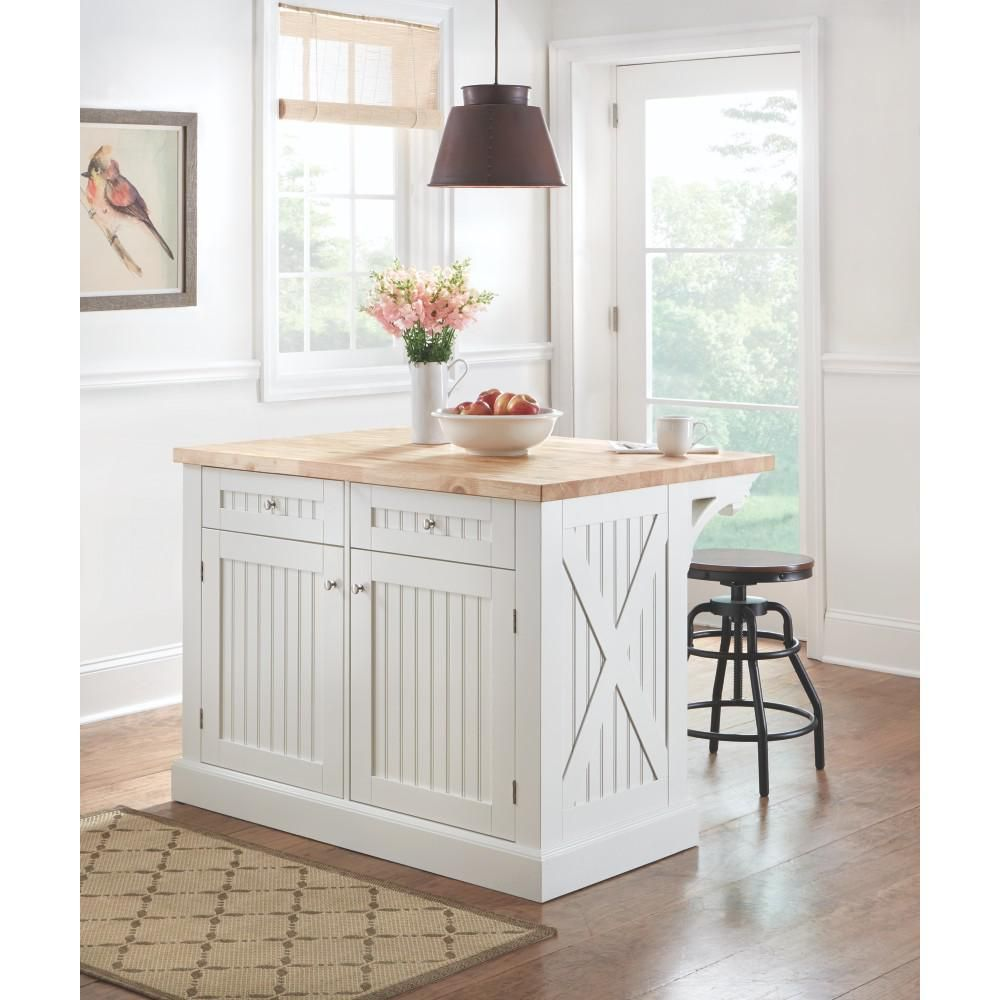Peyton Picket Fence Kitchen Island With Wine Storage | Wood kitchen ...