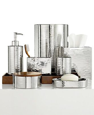 Hotel Collection Polished Hammered Metal Bath Accessories