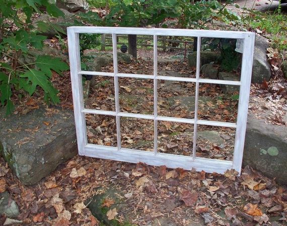 Large 12 Pane Wooden Window Frame Mirror By Acrossandbeyond 150 00 Wooden Window Frames Mirror Frames Window Frame Mirror