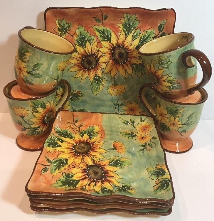Maxcera Terra Cotta Sunflower Hand-Painted Footed Mugs Salad Dinner ...