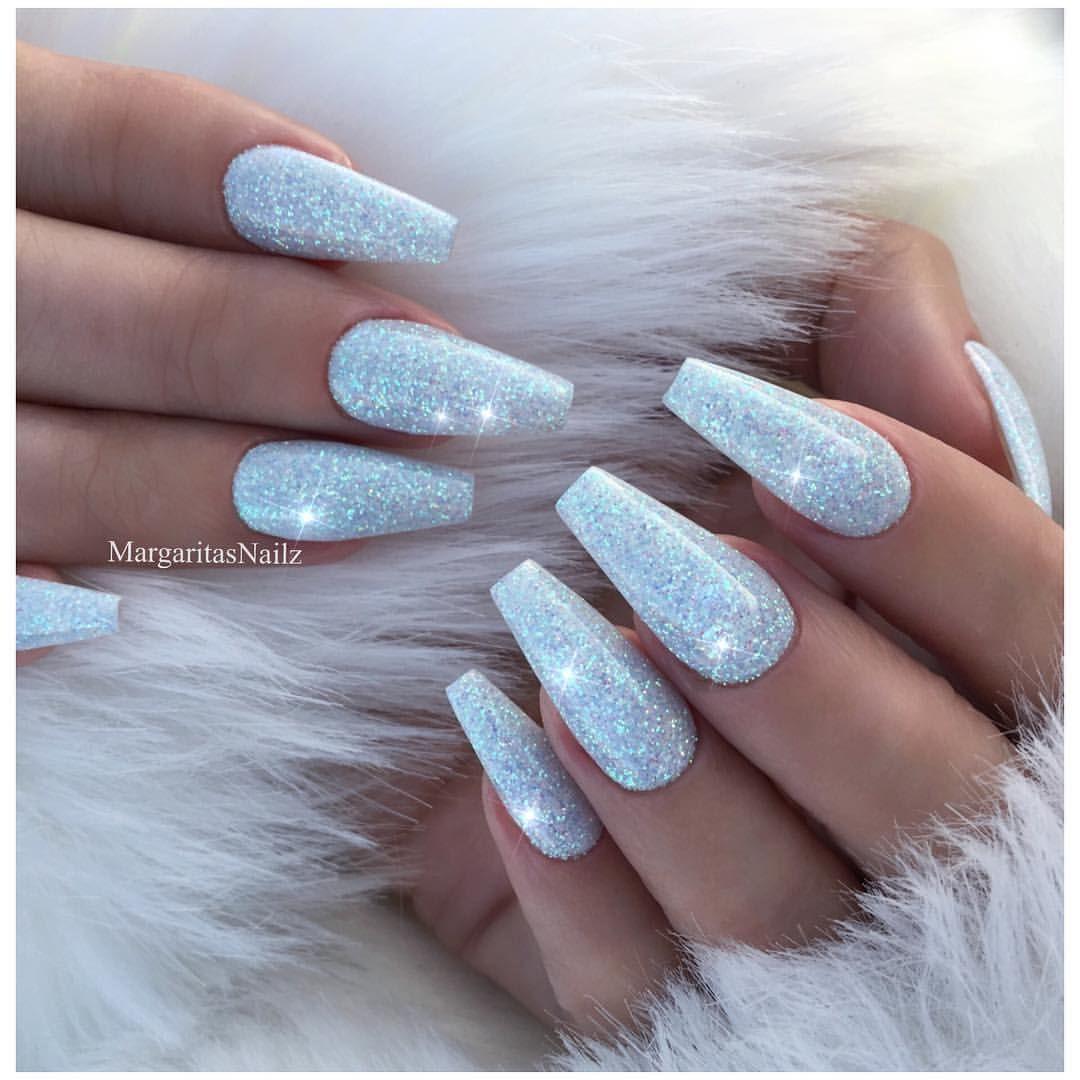 Baby blue glitter nails Icy frozen nail art design Winter wonderland ...