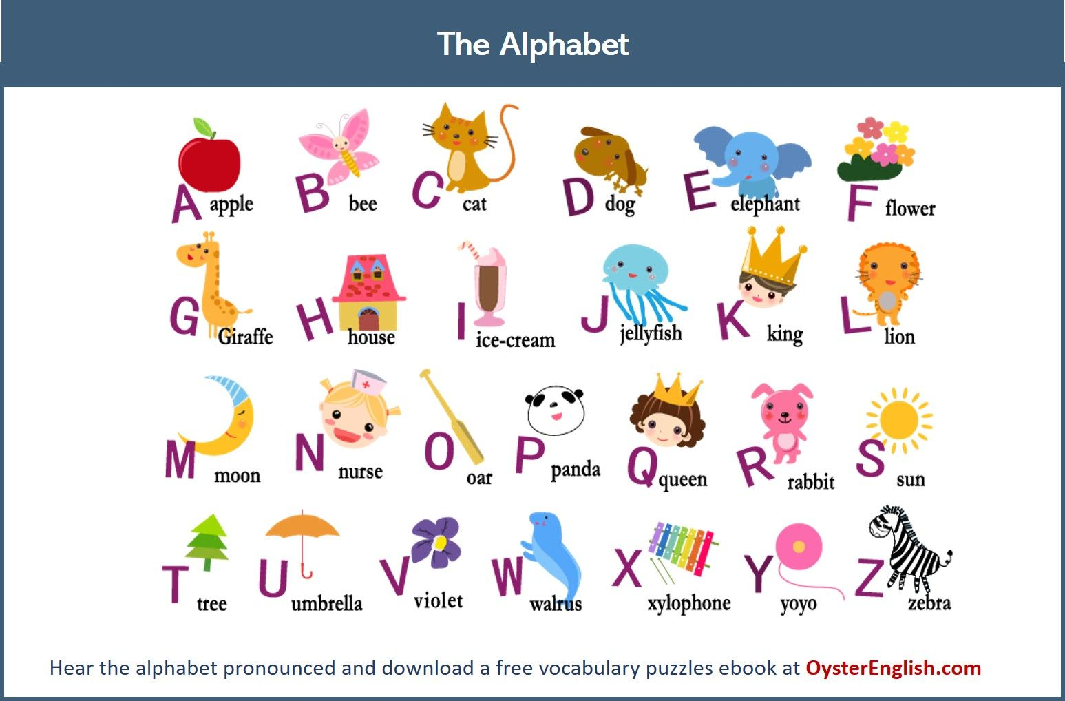 Learn the English alphabet. Hear the alphabet pronounced and practice  spelling plus get you… | English alphabets with pictures, Alphabet for  kids, Alphabet pictures