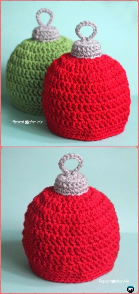 Crochet Christmas Ornament Hat Free Pattern - Crochet Christmas Hat ...