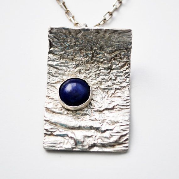 Reticulated Silver With Blue Lapis Pendant Necklace By Lvmdesigns