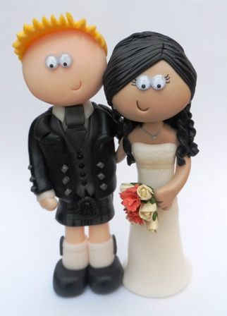Scottish Groom And Italian Bride Wedding Cake Topper Googlygiftscouk
