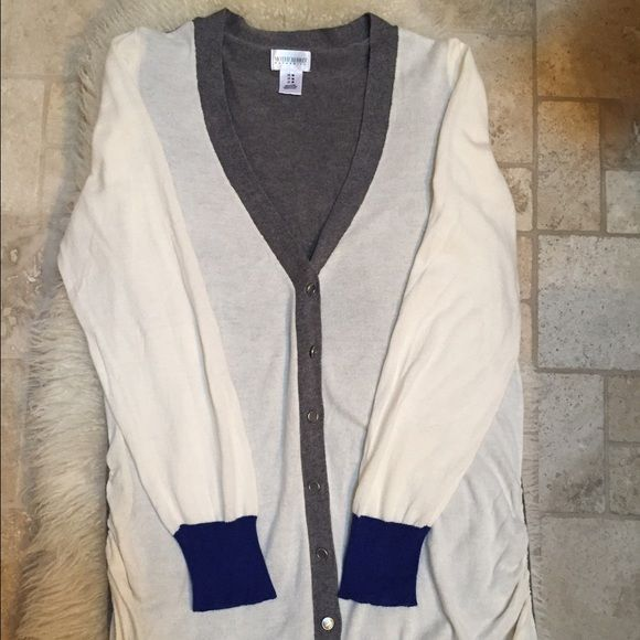 Maternity Cardigan Cream front, gray back, royal blue along the hem and sleeves. Only worn once. Motherhood Maternity Sweaters Cardigans