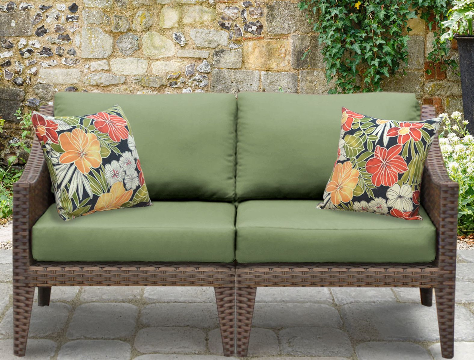 Manhattan Outdoor Wicker Loveseat With Cushions Patio Seating