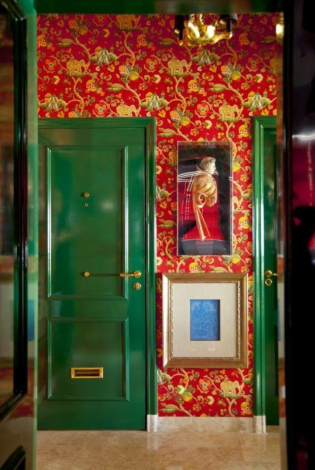 Exotic wallpaper foil for lacquered emerald green doors ~ joao ...