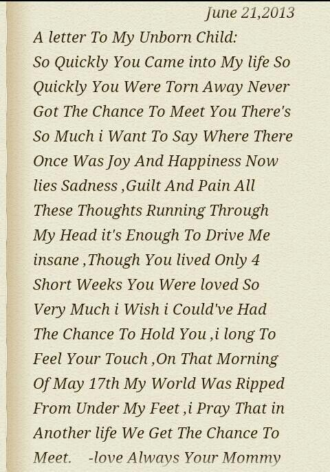 A Letter To My Unborn Child I Love You My Little Angle You Never