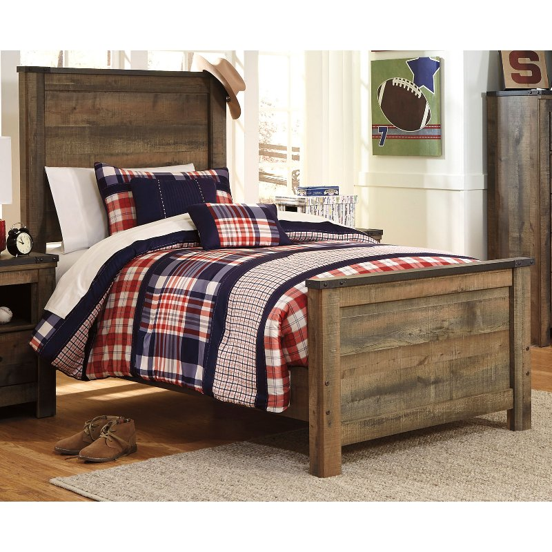 Contemporary Rustic Oak Twin Bed Trinell Twin Size Bed Frame
