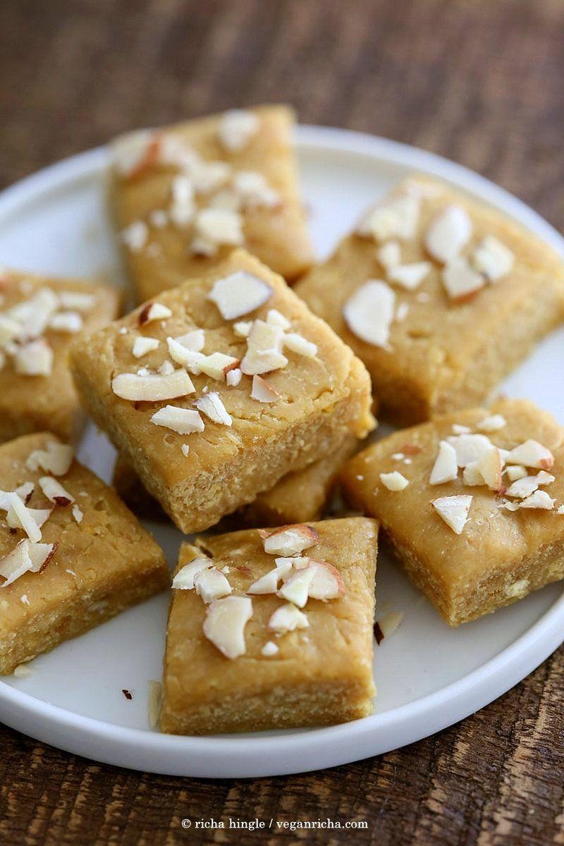 Besan Burfi With Condensed Milk Dairy Free Chickpea Flour Fudge Vegan Richa Recipe No Dairy Recipes Recipes Milk Recipes