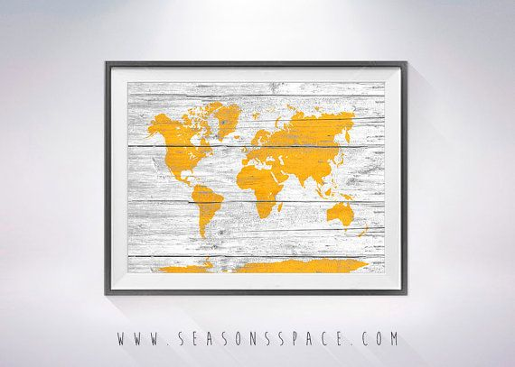 World Map on Wood texture Art Print, Wall Decor, Rustic Art Decor ...