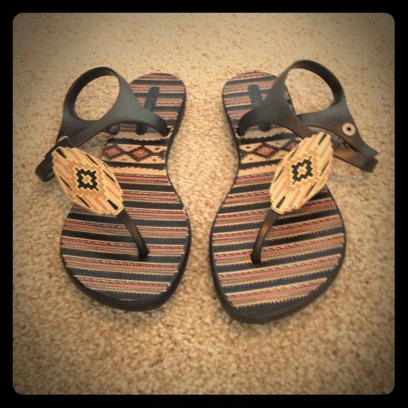 78e3e0db400772 Grendha Tribal Sandals Black salmon tan beige sandals featuring an Aztec  design. Size 6. All materials rubber. Brand new never worn!