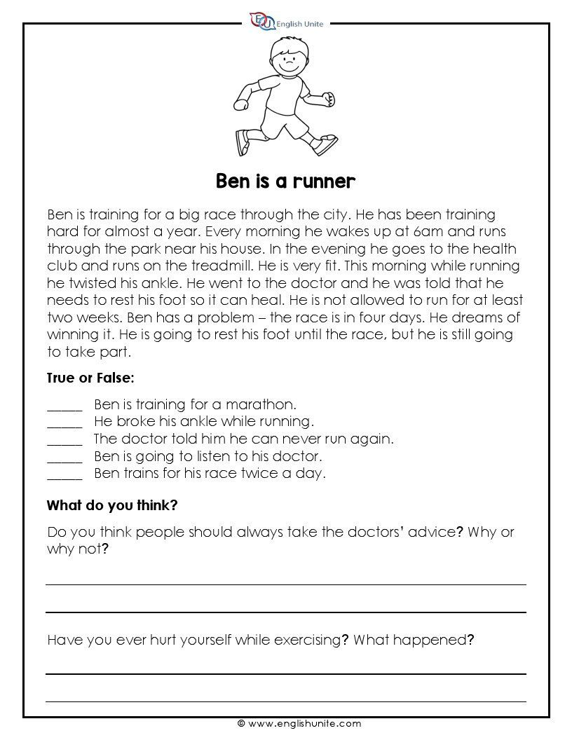 Short Story Ben Is A Runner English Unite Short Reading Passage Reading Passages English Short Stories Short story reading comprehension