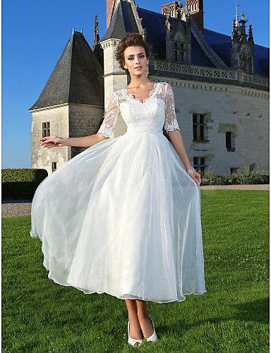 vestido de boda organza encaje hasta los tobillos @ vestidos de