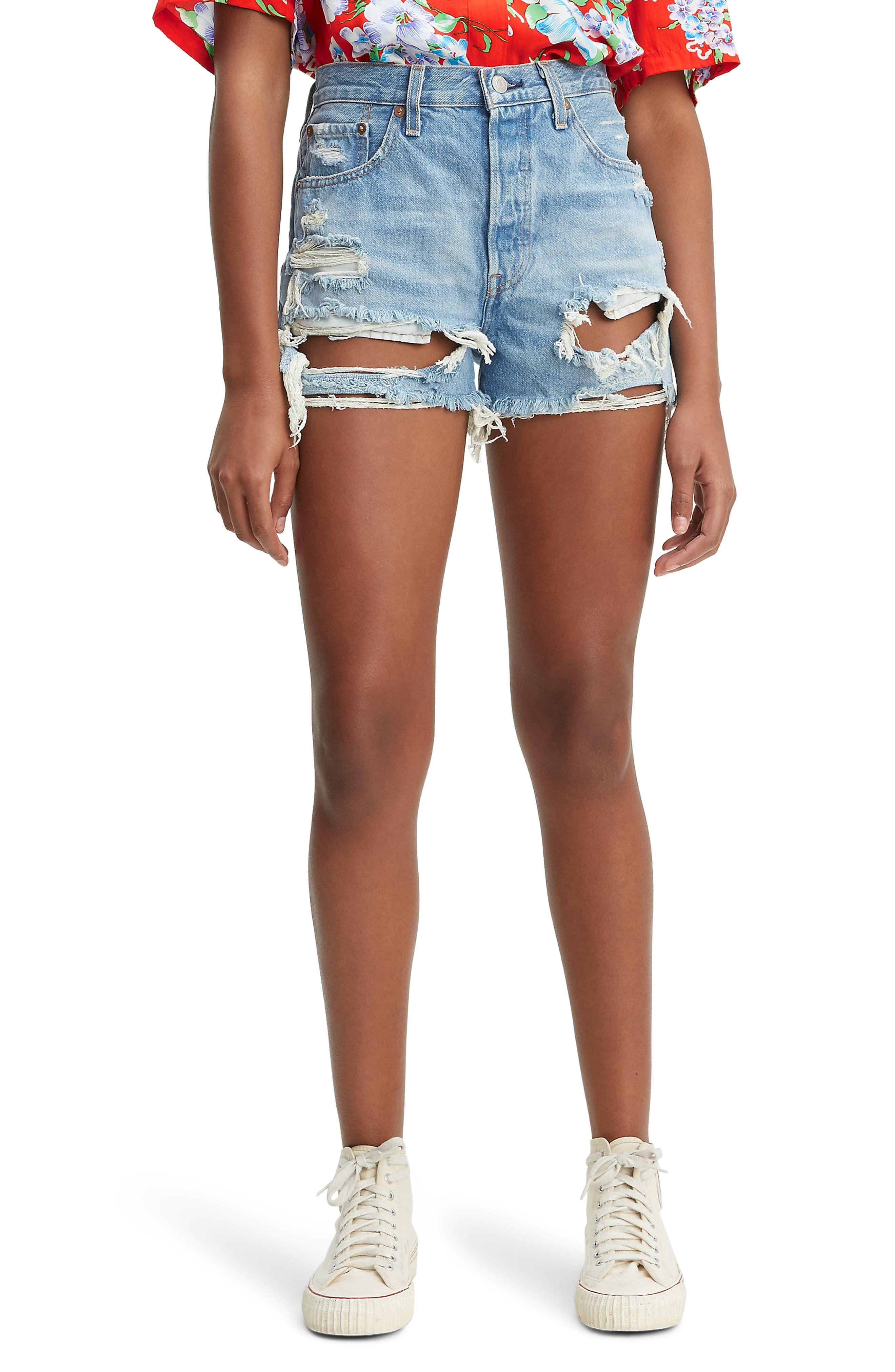26 High Waisted Distressed Denim Shorts
