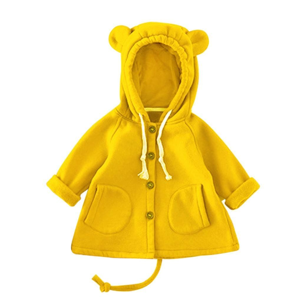 Tenworld Toddler Kids Baby Girls Bear Ears Hooded Coat Winter Outwear Clothes 12 Months Yellow Infa Girls Winter Jackets Girls Winter Coats Baby Coats Girl