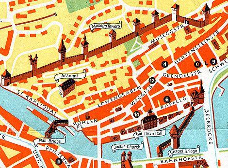 Map of Lucerne Switzerland Lucerne Switzerland and Illustrated maps