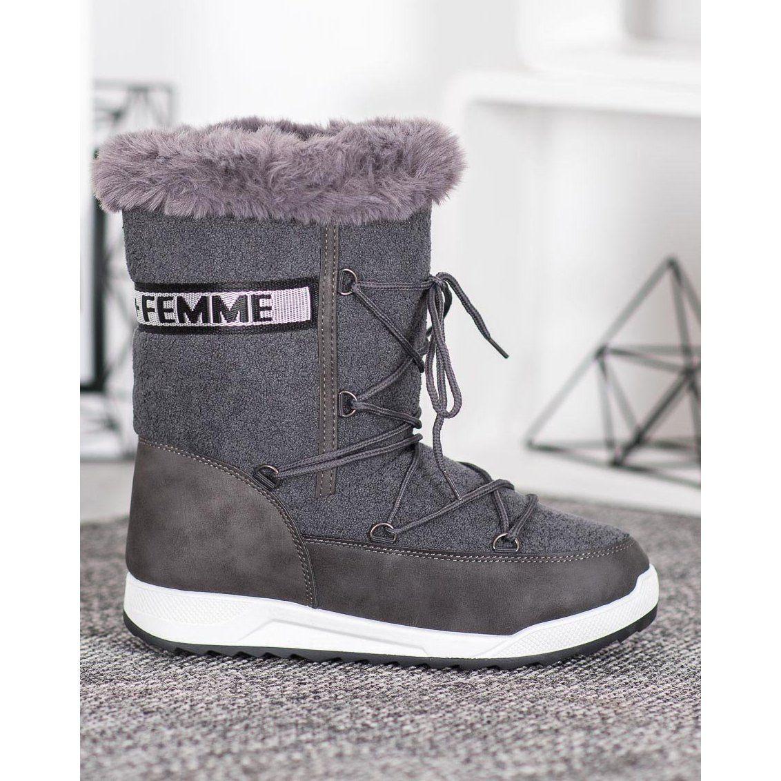 Small Swan Sznurowane Sniegowce Fashion Szare Fashion Boots Ugg Boots