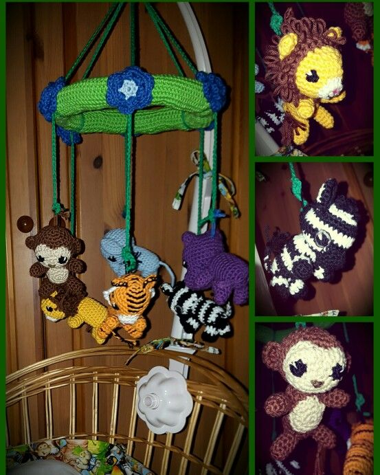 Crocheted animal, jungle mobile for nursery, baby toys. Monkey, lion ...