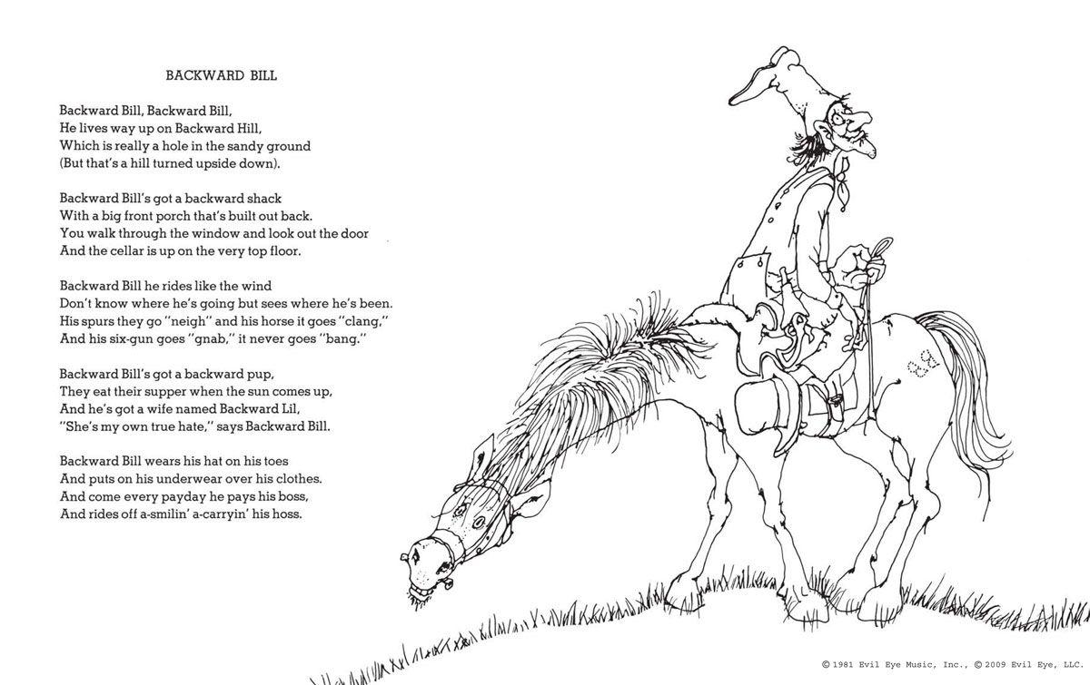 Backwards Bill By Shel Silverstein Frame The Poem For