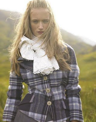 lace scarf with plaid jacket