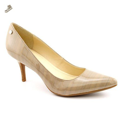 b42f039723377 Calvin Klein Ashley Womens Size 7.5 Beige Patent Leather Pumps Heels ...