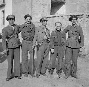 Spain - 1938. - GC - Lieutenant Sanchez, Herman (Gabby) Klein, [?], Lieutenant [?] Carmona, Harry Lichter, Eloy Bouha [?]   http://dlib.nyu.edu/randall-photo/node/803