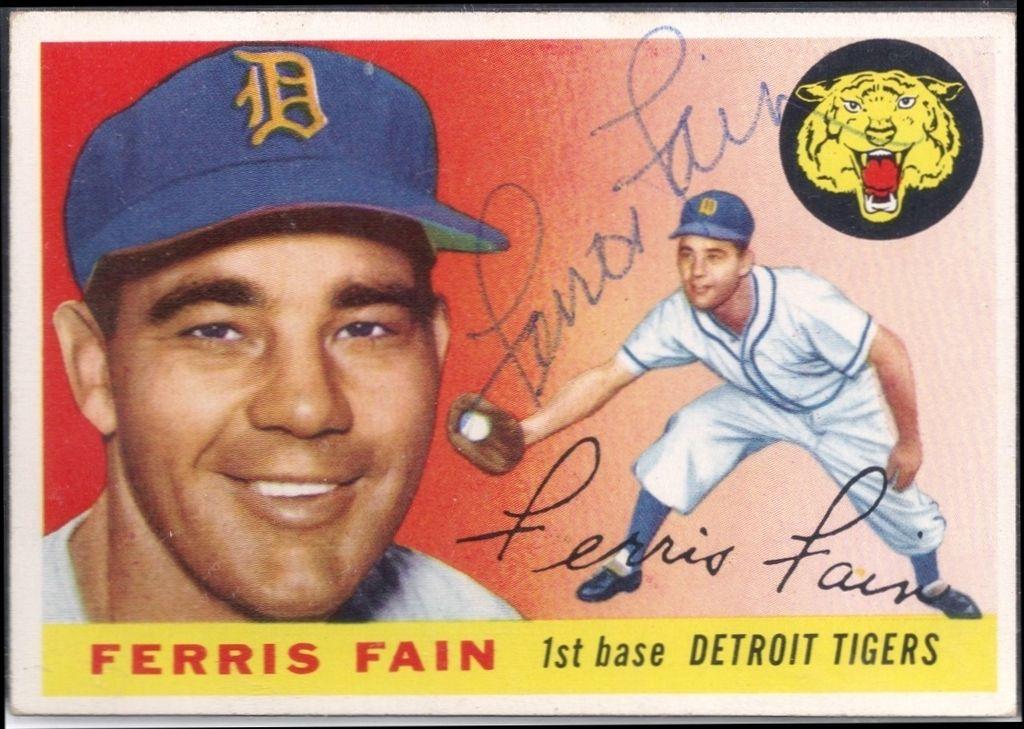 1955 topps ferris fain autograph baseball cards