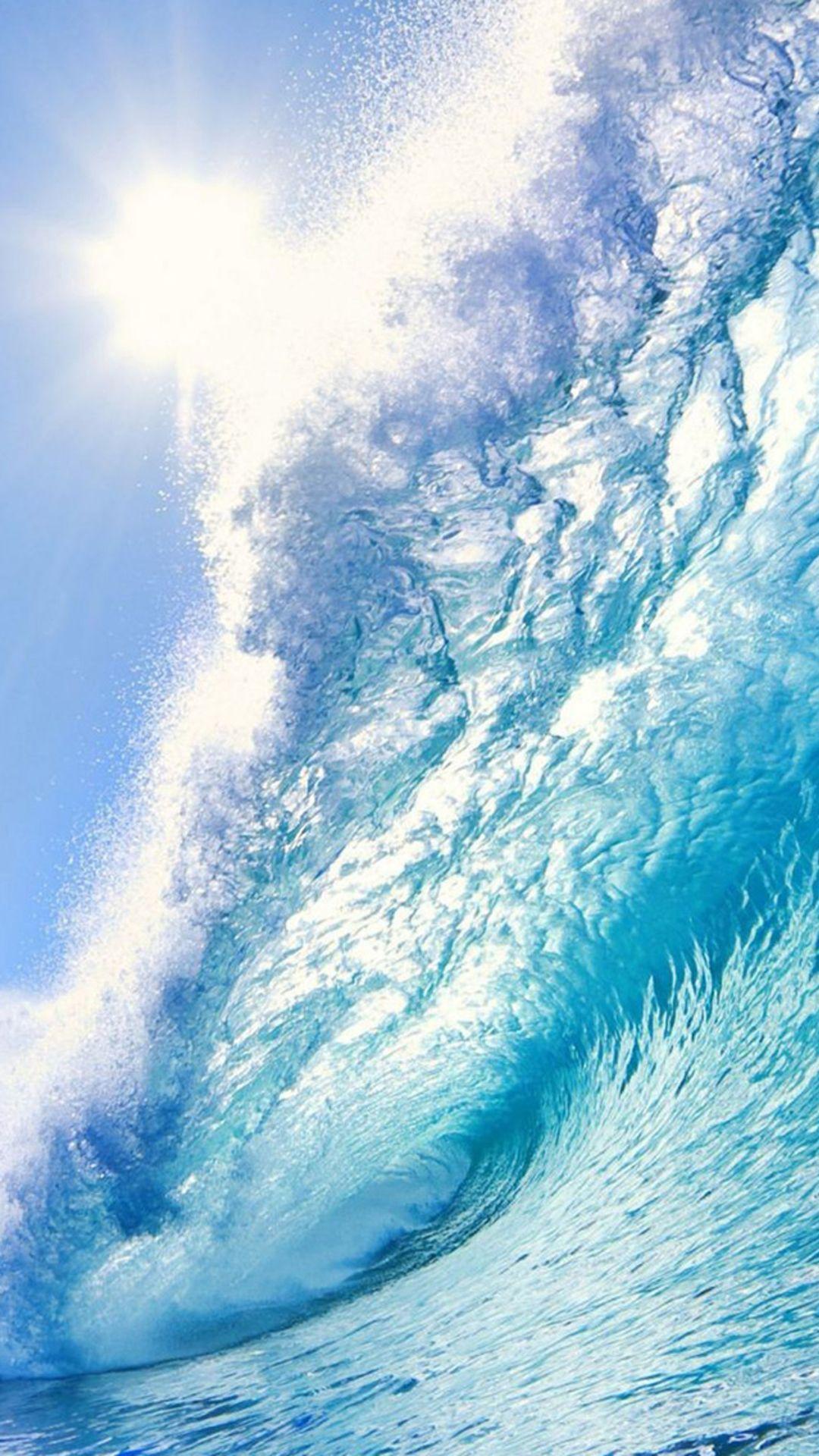 Wallpaper iphone wave - Nature Huge Ocean Surging Wave Under Sunshine Iphone 6 Plus Wallpaper