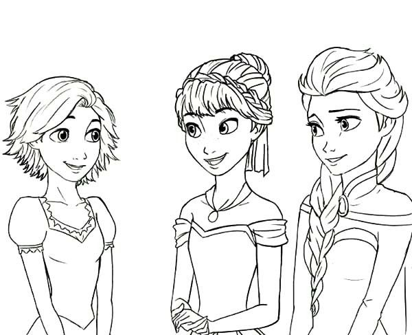 Anna Rapunzel Princess Queen Elsa Cousin Coloring Pages Colorine