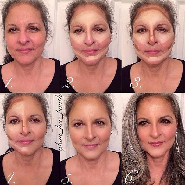 Makeup application for mature skin