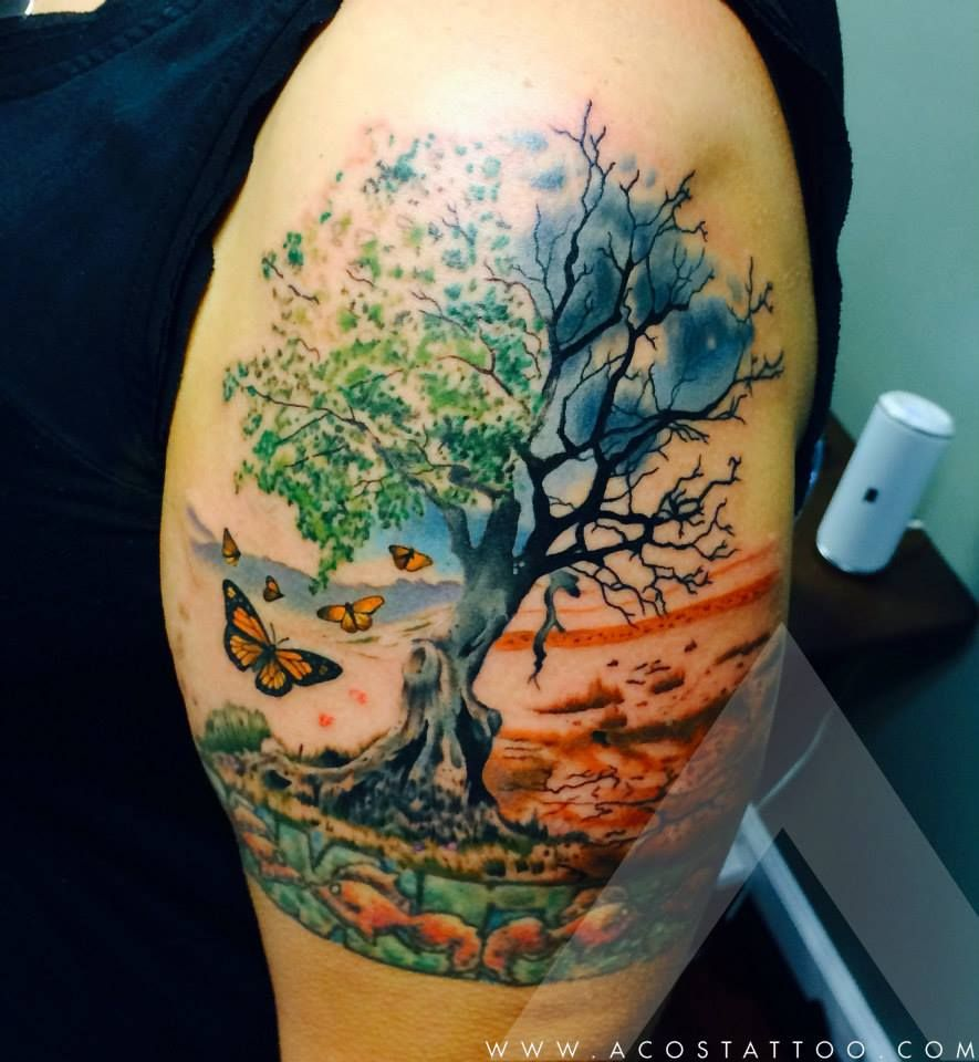 Watercolor tattoo artists in houston texas - Scenery Arm Tattoo By Acostattoo Houston Tx