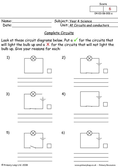 complete circuits worksheet science printable worksheets primaryleap pinterest. Black Bedroom Furniture Sets. Home Design Ideas